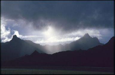 Landscape of volcanic peaks, Rarotonga