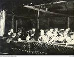 VIVIGANI, GOODENOUGH ISLAND, PAPUA. 1943-12-24. AIRMEN OF NO. 22 (BOSTON) SQUADRON RAAF SINGING CHRISTMAS CAROLS IN A NATIVE BUILT HUT ON CHRISTMAS EVE